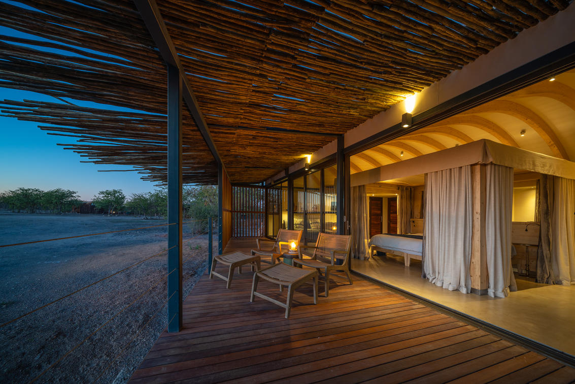 Andersons Camp at Ongava, bedroom and deck view